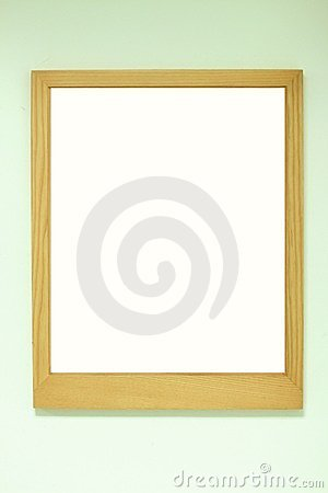 Golden brown wood frame on the wall