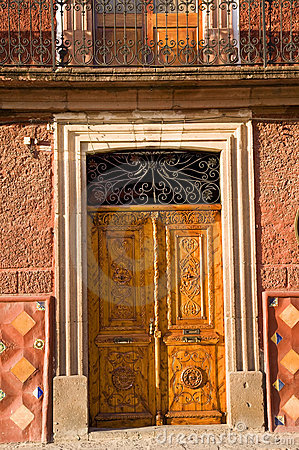 Golden Brown Wooden Door San Miguel Mexico