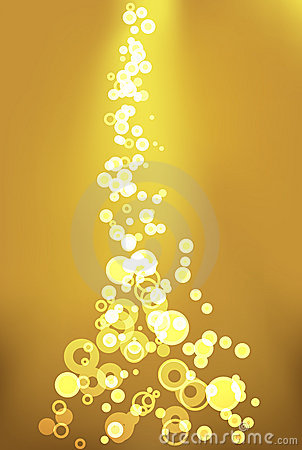 Golden bubbles light background