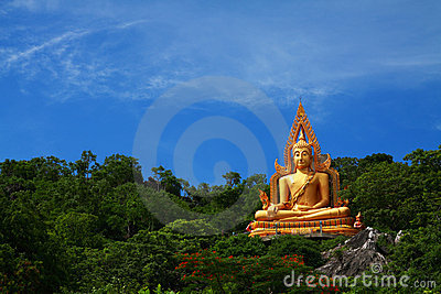 Golden buddha on green mountain
