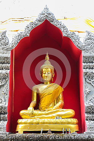 Golden Buddha statue in a Buddhist temple
