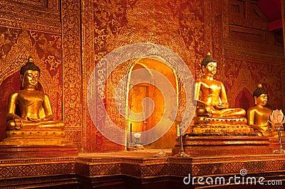 Golden buddha statue in Thai temple