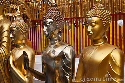 Golden buddha statues in Wat Phrathat Doi Suthep