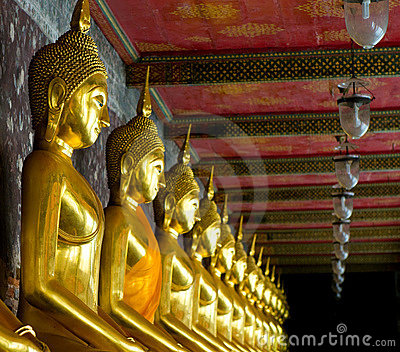 Golden buddhas in wat sutat, bangkok