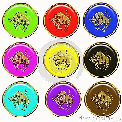 Golden Bull or Taurus Icons