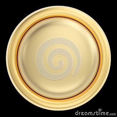 Golden button on black