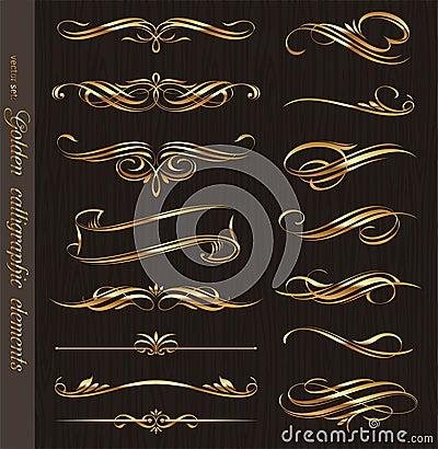 Free Golden Calligraphic Design Elements Stock Images - 19961294
