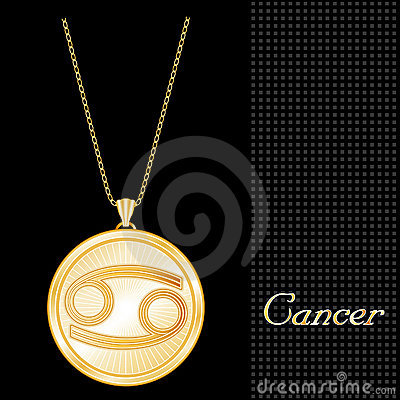Golden Cancer Pendant Necklace