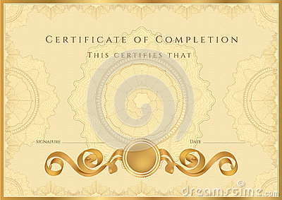 Golden Certificate / Diploma Background (template) Royalty ...