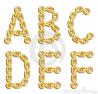 Golden chained alphabet