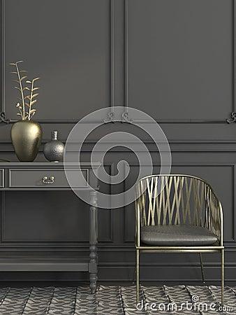 Free Golden Chair In Gray Interior Stock Photos - 63075693