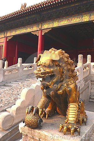 Golden Chinese lion