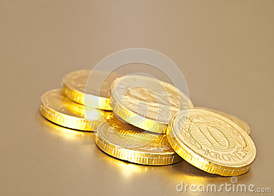 Golden chocolate coins
