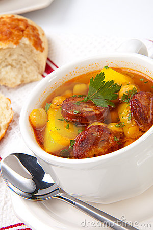 Free Golden Chorizo And Chickpea Soup Stock Photography - 14222282