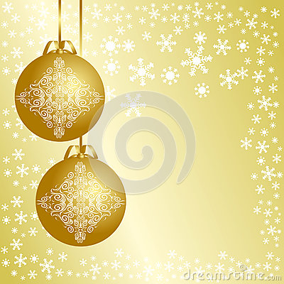 Golden christmas background with christmas balls.