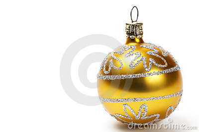 Golden christmas ball with glitter stars