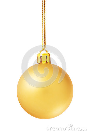Free Golden Christmas Ball Isolated On White Royalty Free Stock Photos - 61592938