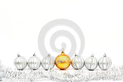 Golden christmas ball and silver balls