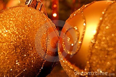 Golden Christmas balls closeup
