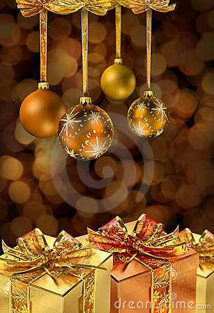 Golden Christmas balls and presents