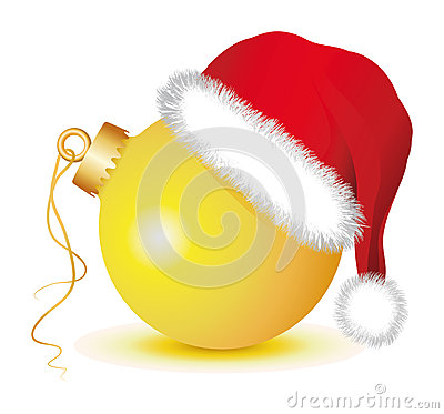 Free Golden Christmas Baubles With Santa Claus Hat Royalty Free Stock Photography - 35631097