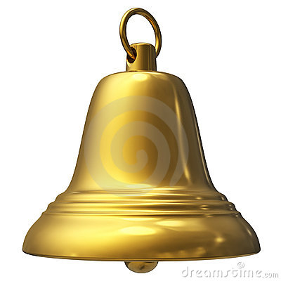 Golden Christmas Bell Isolated On White Stock Image - Image: 20714241