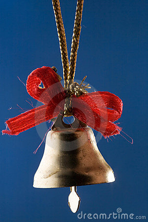 Free Golden Christmas Bell With Red Ribbons Royalty Free Stock Photos - 5496168
