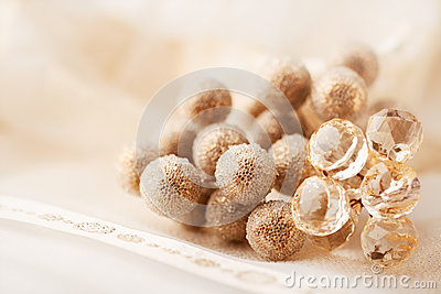 Golden christmas decor on satin table cloth