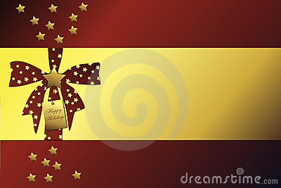 Golden christmas frame on red background