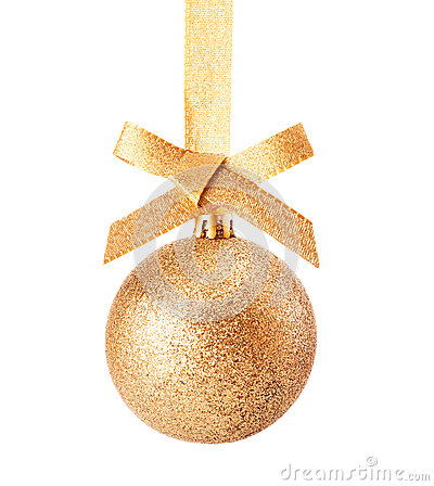 Golden Christmas glitter bauble