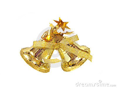 Golden Christmas handbell on white background