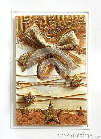 Golden Christmas postcard