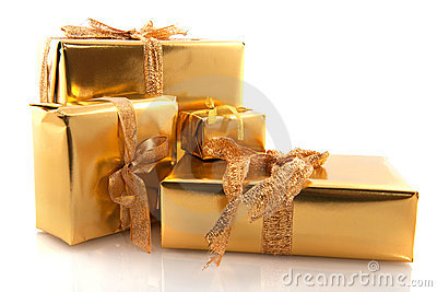 Golden christmas presents