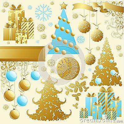 Golden christmas set.
