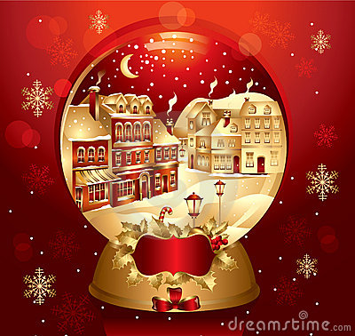 Golden christmas snow globe