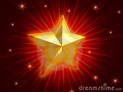 Golden Christmas star over red background radiate