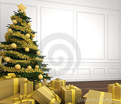 Golden christmas tree in white room