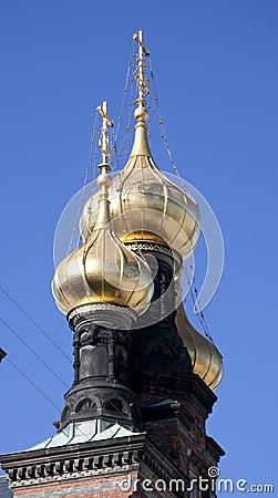 Golden church spires