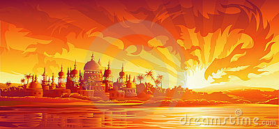Golden city under golden sky (dragon version)
