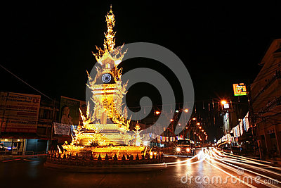 Golden clock tower in Chiang Rai, Thailand Editorial Stock Image