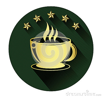 Free Golden Coffee Cup And Five Star Icon With Long Shadow Effect Stock Photography - 50219912