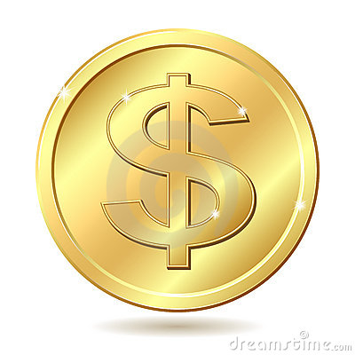 Free Golden Coin With Dollar Sign Royalty Free Stock Photography - 22868907