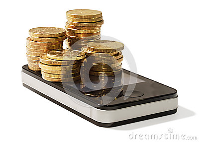 Golden coins on cellular mobile phone