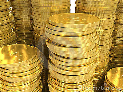 Golden coins. Closeup