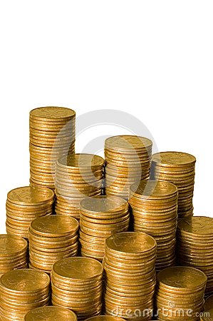 Golden coins isolated isolated over white