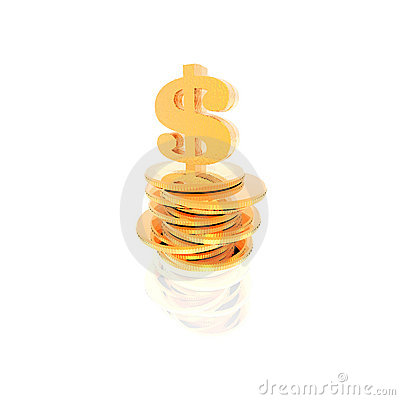 Golden coins isolated on a white