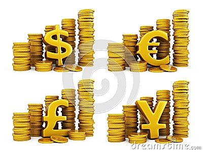 Golden coins set of currencies