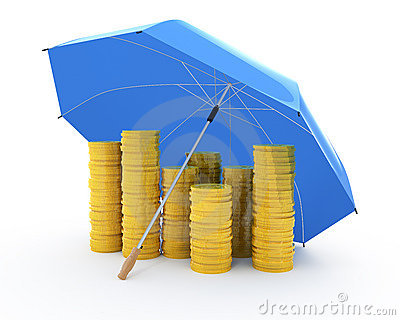 Golden coins under an umbrella