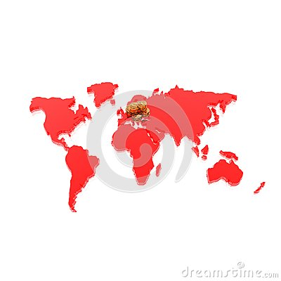 Golden coins on world map isolated on a white