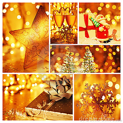 Free Golden Collage Of Christmas Decorations Royalty Free Stock Photos - 22079238